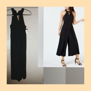 High Neck chocker collar S/L cropped Jumpsuit
